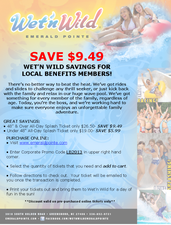 Discount Tickets for Wet N Wild Emerald Pointe Water Park: Find authentic tickets for events happening at Wet N Wild Emerald Pointe Water Park in Greensboro, NC. Browse venues, locate events, see schedules, and view discount tickets from seusinteresses.tk, your trusted online ticket .